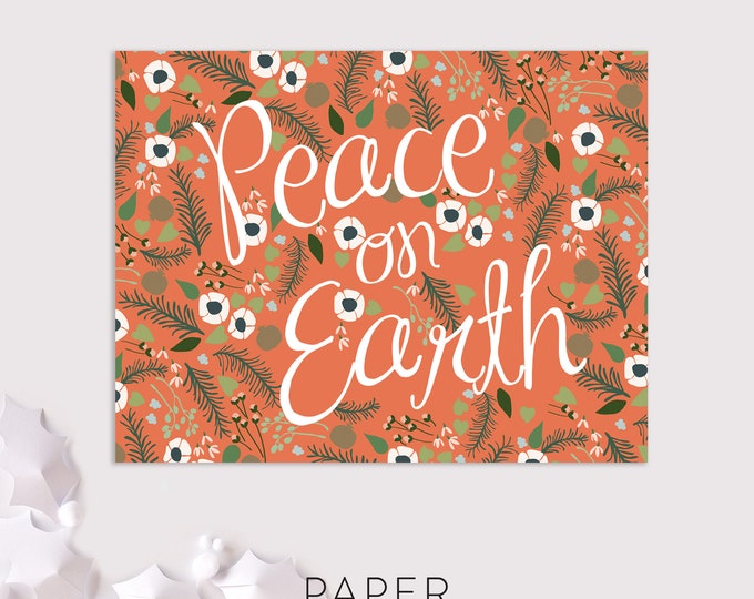 floral peace on earth holiday cards / christmas card pack / 8 pack card set