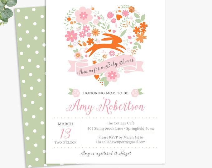 Spring floral baby shower invitations, valentine's baby shower invites, printable digital template or printed invites