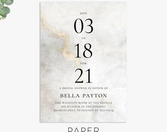 modern bridal shower invitations, minimalist shower invite, elegant wedding shower invitation template, digital file, printed invites