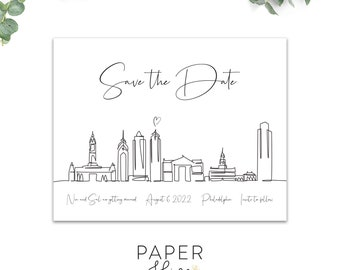 philadelphia save the date magnet, postcard, flat cards, destination save the dates, modern minimalist printed save the dates
