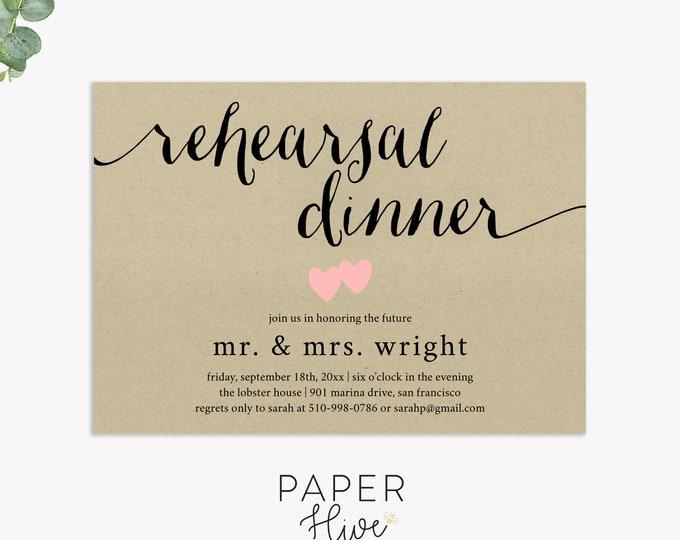 Rustic rehearsal dinner invitation / rustic wedding invitations / rehearsal dinner invites / printable invitations / printed invitations