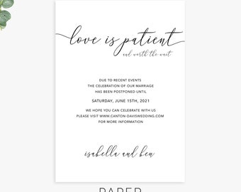 change the date, love is patient, save the new date, wedding postponement announcements, printable or printed cards