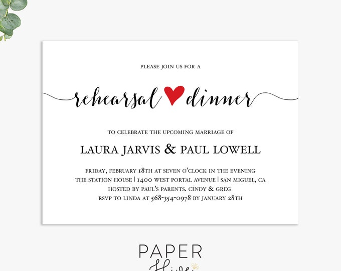 rehearsal dinner invitations, modern wedding dinner invite, elegant minimalist rehearsal dinner template digital file, printed invites