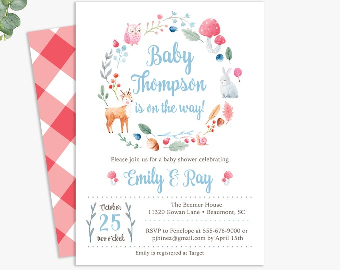 forest critters baby shower invitations, woodland themed baby shower invites, printable digital template or printed invites
