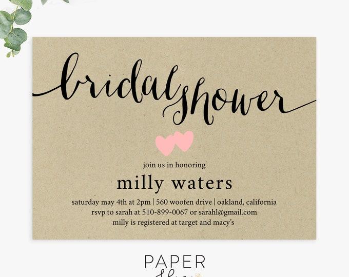 Rustic Bridal Shower Invitations, kraft bridal shower invites, country chic, printed invites, printable digital file