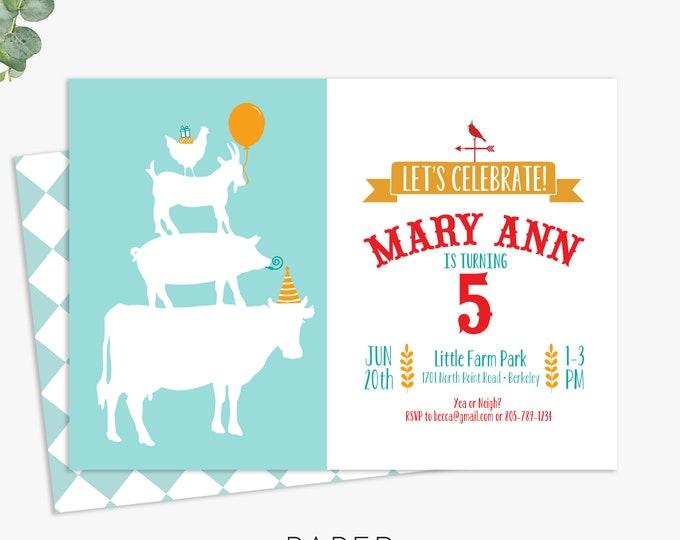farm animal birthday party invitations, farm birthday party invites, printable template, printed invites, digital file