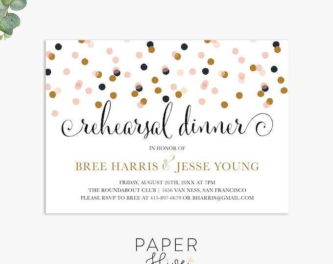 festive rehearsal dinner invitations, modern wedding rehearsal invite, elegant rehearsal dinner template digital file, printed invites