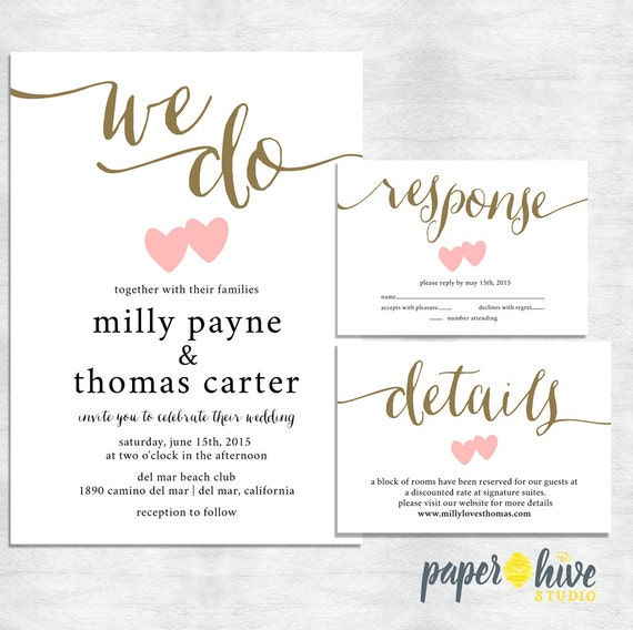 We Do Wedding Invitations / Calligraphy Wedding Invitation