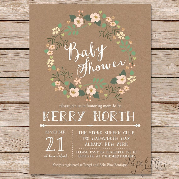 Rustic baby shower invitations floral baby shower invites etsy image 0 filmwisefo