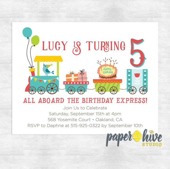 Train Birthday Invitation Party Invite Girl