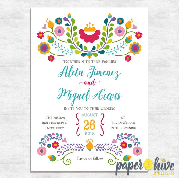 Mexican Wedding Invitation Fiesta Wedding Invite Printable Etsy
