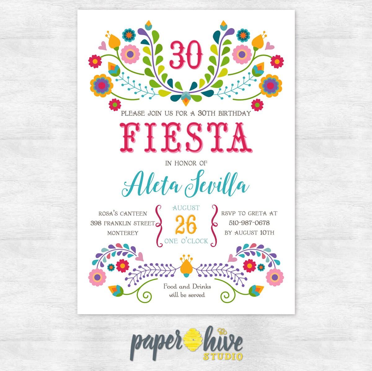 30th Birthday invitation / fiesta invitation / 30th birthday | Etsy