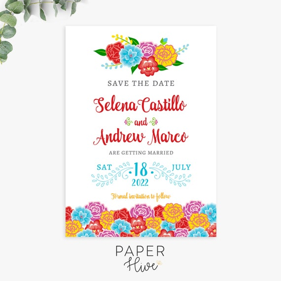 fiesta floral save the date cards, digital invitation template,