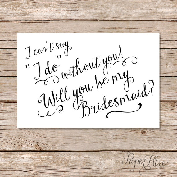 Items Similar To Will You Be My Bridesmaid Cards/ I Can't
