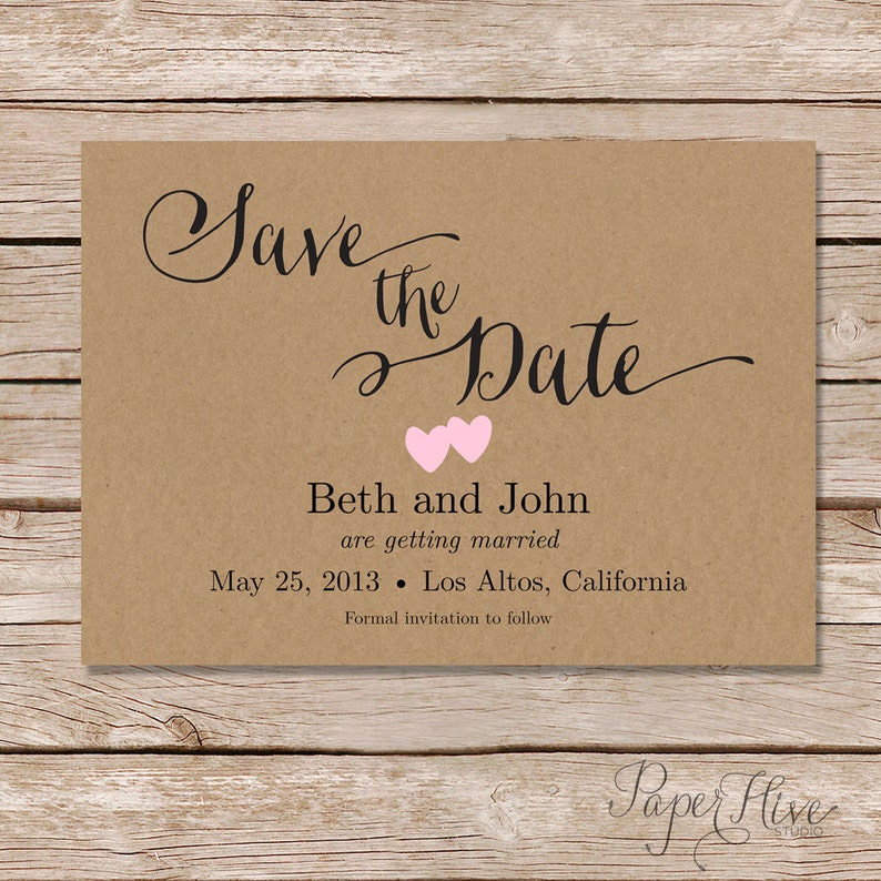 rustic save the date cards  printable save the date   kraft save the date  printable template  printed cards