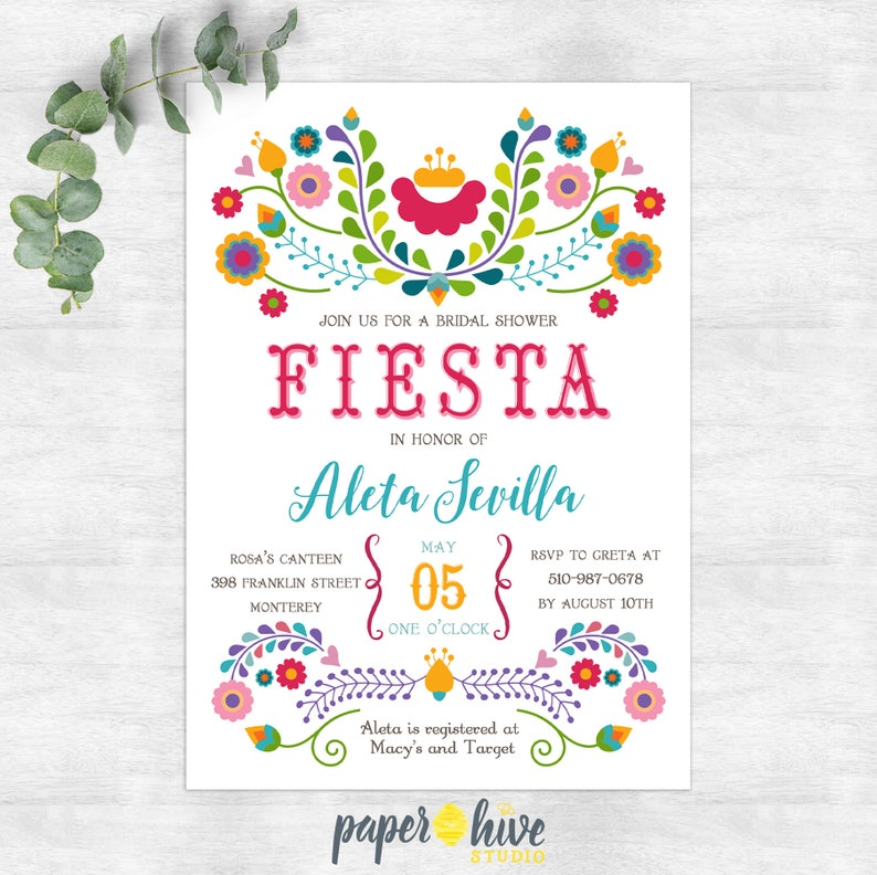 photograph about Bridal Shower Printable Invitations titled Fiesta bridal shower invitation / mexican bridal shower / printable invites / fiesta / invitations
