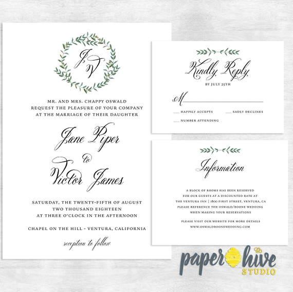 Monogram Wedding Invitations Botanical Wedding Invitation Etsy