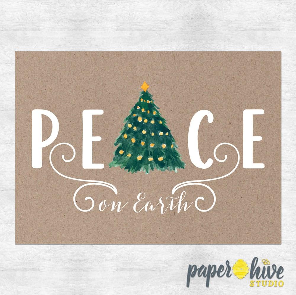 Peace on earth holiday cards / Christmas cards / Christmas | Etsy