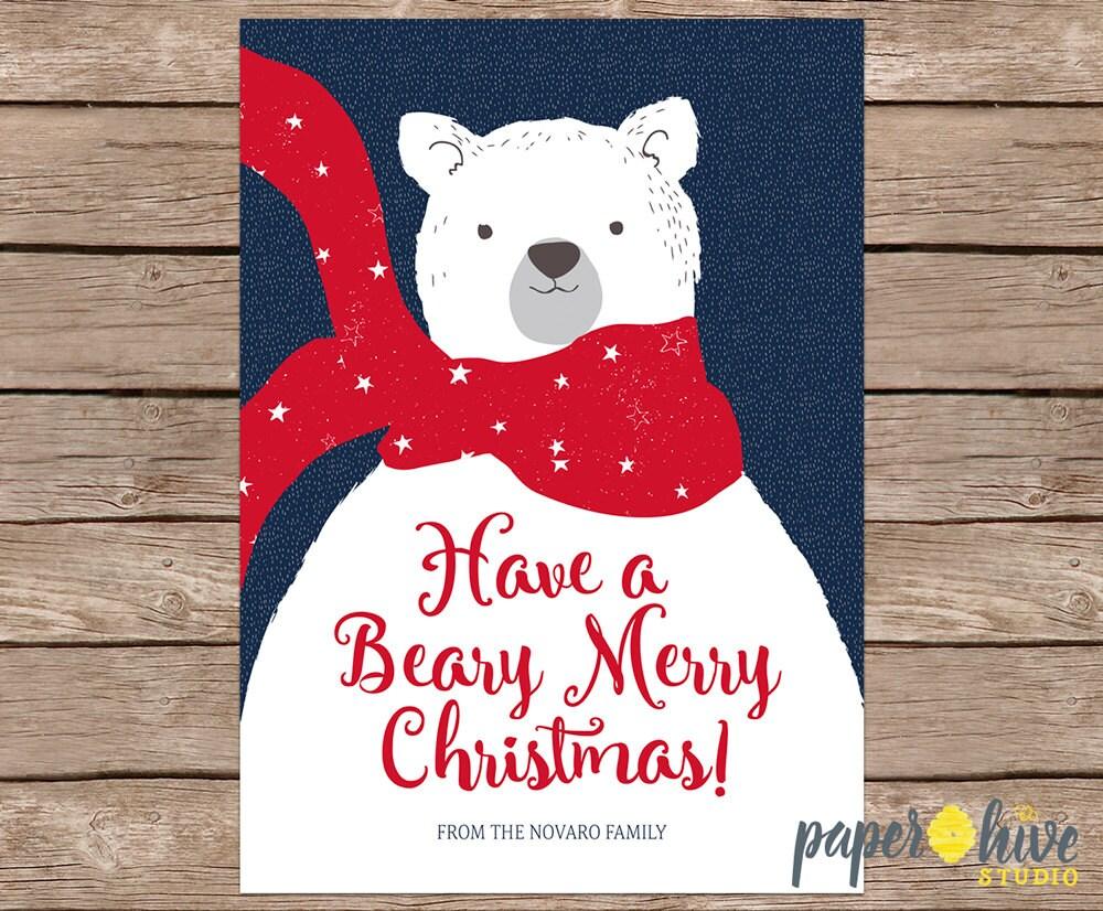 polar bear christmas cards / holiday card set / christmas | Etsy