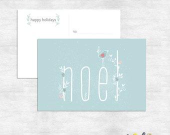 Noel Christmas Postcard  / woodland holiday postcard / bird Christmas card /  printed cards