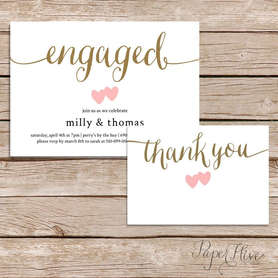 Printable Engagement Party Invitation And Thank You Card Set Etsy