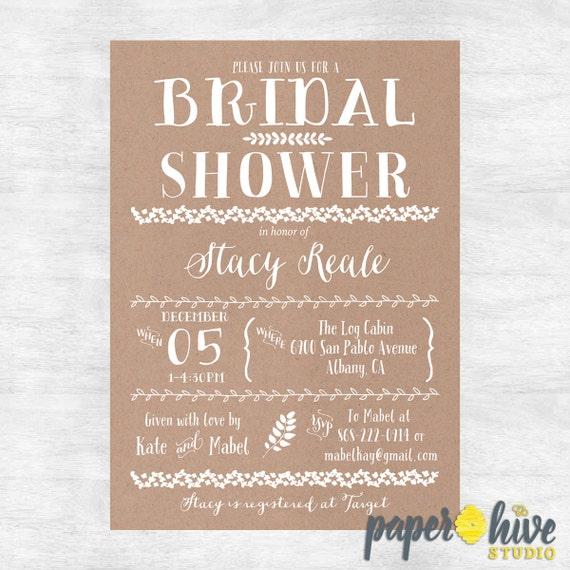 ddce93605fdd Rustic Bridal Shower Invitation   Kraft Bridal shower