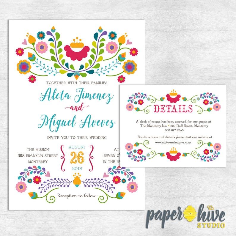Fiesta Wedding Invitation With Details Card Mexican Wedding Etsy