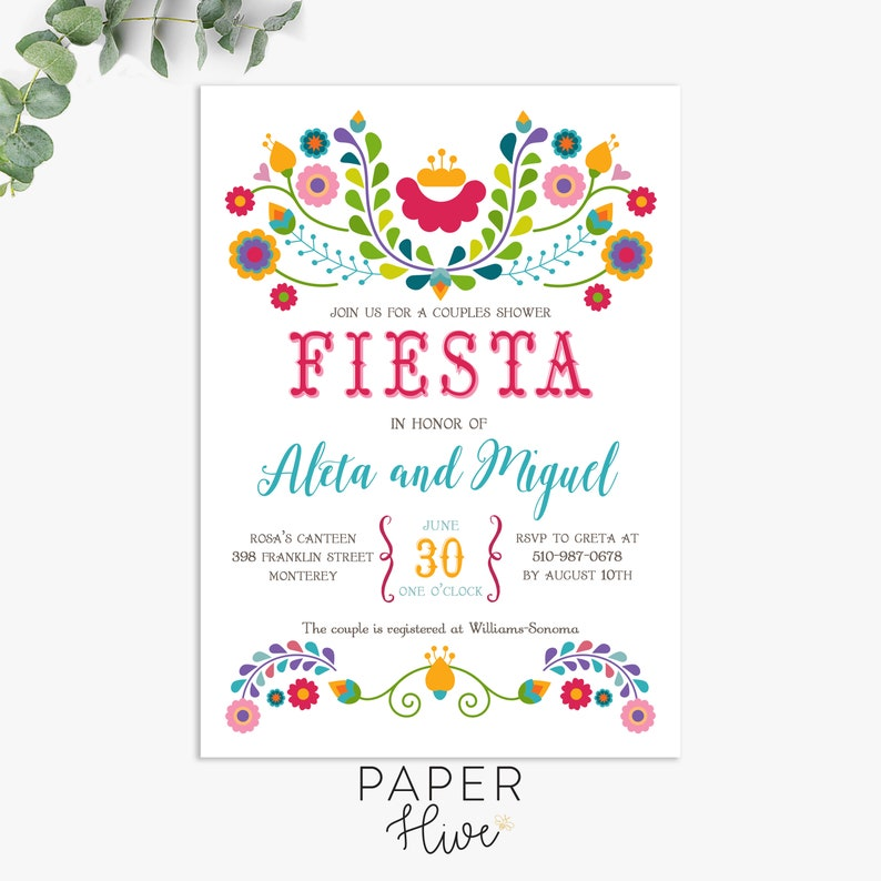 Fiesta invitation / Fiesta couples shower invitations / cinco image 0