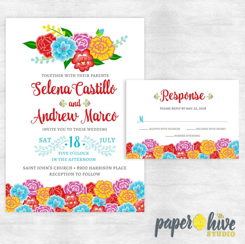 Mexican Wedding Invitation And Rsvp Card Fiesta Wedding Etsy