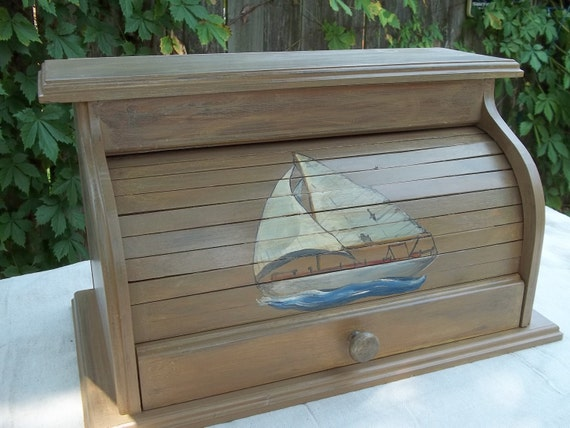 Bread Box With Sailboat Hand Painted On The Roll Top Door With