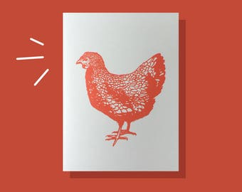 Letterpress printed chicken card! (available in many colors)