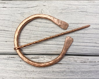 """Celtic style, or """"penannular"""" brooch/shawl pin, hand forged from solid copper"""