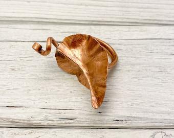 Hammered Copper Leaf Ring