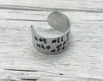 Hammered Aluminum Cigar Band Ring with Tolkien Quote