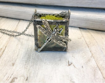 Dragonfly Garden, tiny wearable terrarium