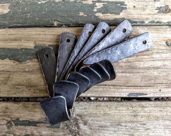 6 Large Hammered Coat Hooks // Metal Wall Hooks // Decorative Hooks