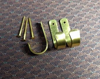 Set of 3 Small Solid Brass Hooks - Matching Brass Screws Included // Brass Hook Set // Brass Coat Hooks
