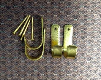 Set of 4 Small Solid Brass Hooks - Matching Brass Screws Included // Brass Hook Set // Brass Coat Hooks