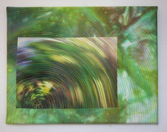 """Spin Textile fiber art quilt wall hanging mounted on canvas 8"""" x 10"""""""