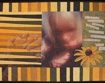 A Child's Prayer Textile Fiber Art Quilt Wall Hanging