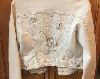 Embellished White Denim Jacket