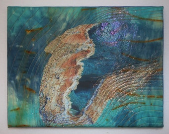 Pool textile fiber art quilt mounted on canvas frame