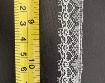 """Vintage Gehring Textiles 3/4"""" SNOWHITE WHITE Lace 10 yds #8557 Lingerie Doll"""