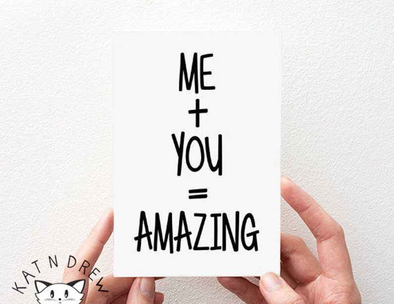 Me Boyfriend Card Valentines Card PGC020 Girlfriend Card Love Card You = Amazing Card