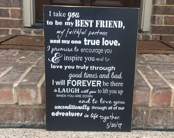 I Take You To Be My Best Friend ~ Wood Anniversary ~ Wedding Vows Wood ~ Wedding Signage ~ Sixth Anniversay Gift ~ Modern 6th Anniversary