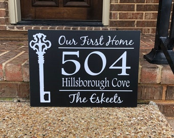 f2e1c4aaefb1c Our First Home Sign Address Sign Housewarming Gift ~ Real Estate Closing  Gift Our First Home Gift Home Sign ~ New Home Gift Custom Wood Sign