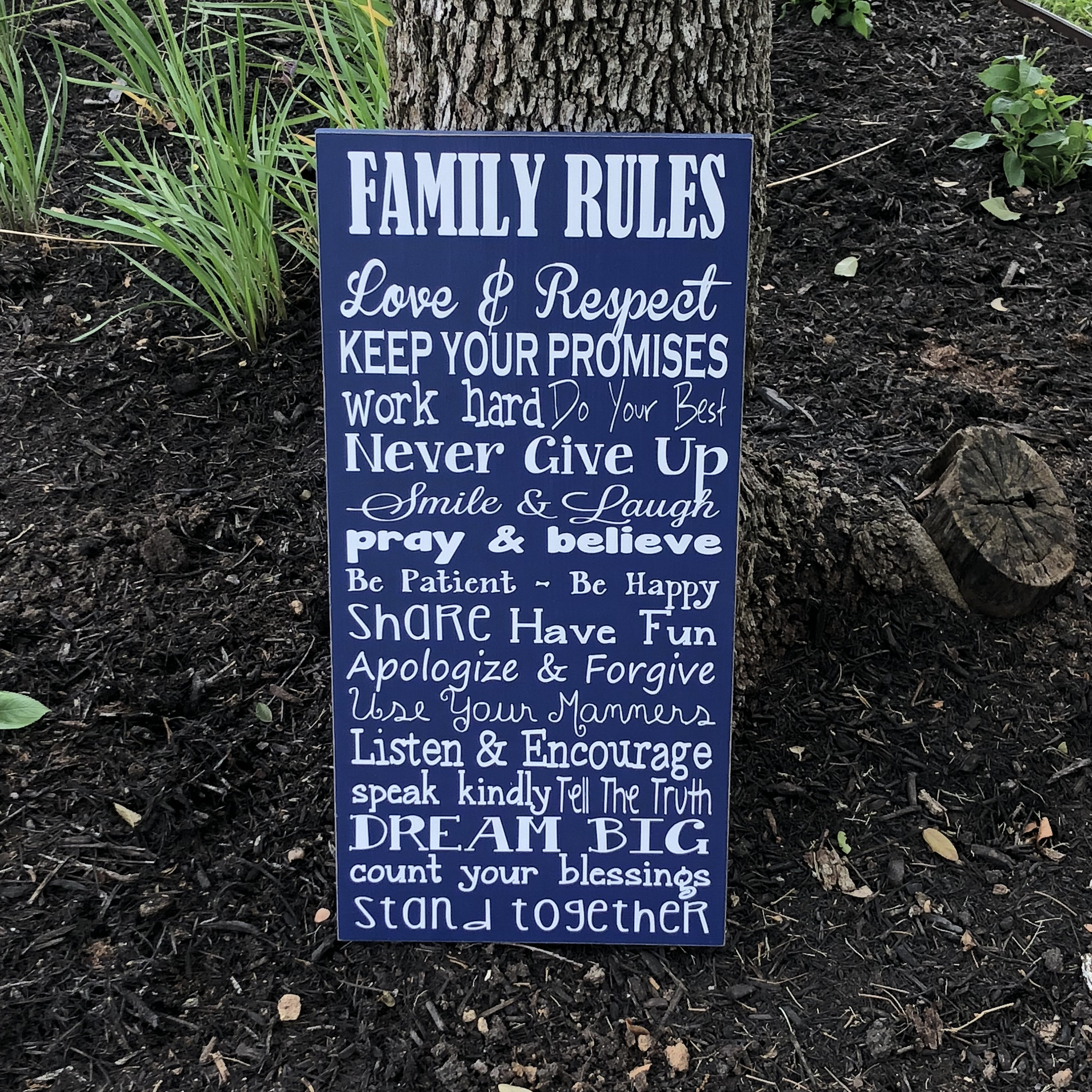 Family Rules Custom Wood Sign Family Values House Rules