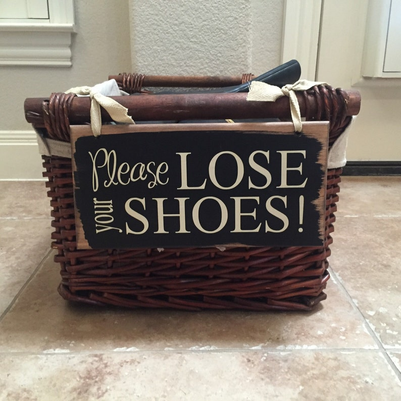 Please Lose Your Shoes Wood Sign  Shoes Storage  No Shoes image 0