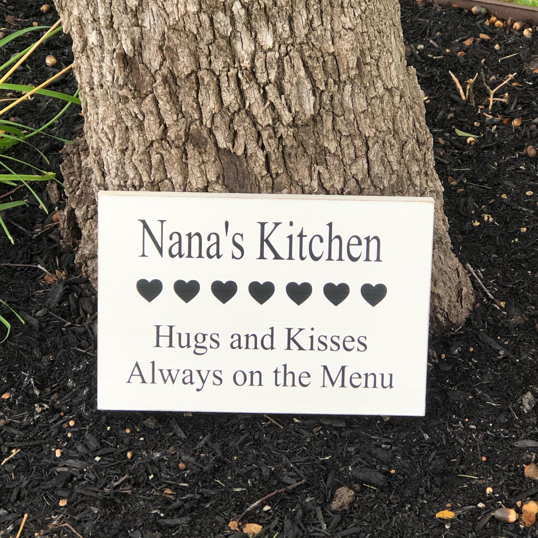 Nana S Kitchen Sign Kitchen Decor Gifts Personalized Kitchen Sign For Kitchen Wall Decor Art Customized Kitchen Sign Hugs And Kissses Menu