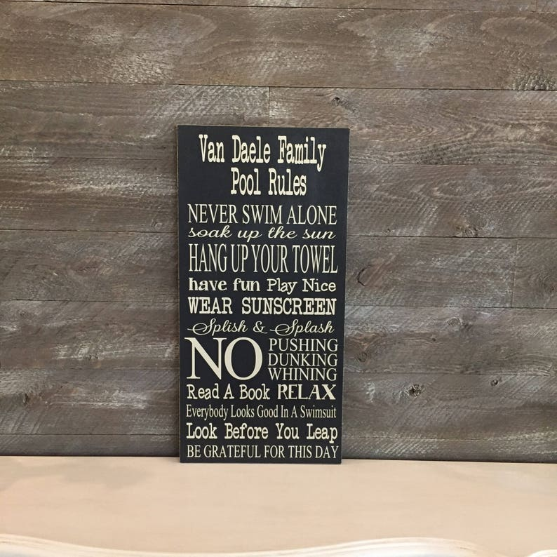17c31046ea0d Pool Signs ~ Pool Rules ~ Patio Sign ~ Porch Decor ~ Backyard Sign ~ Pool  Decor ~ Family Rules Sign ~ Pool House Decor ~ Sign For Pool